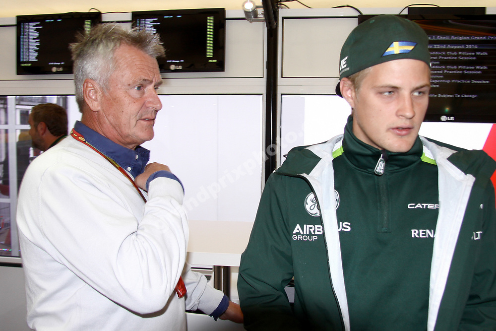 Marcus Ericsson (Caterham-Renault) with manager Eje Elgh at the 2014 Belgian Grand Prix at Spa-Francorchamps. Photo: Grand Prix Photo