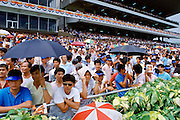 Racegoers at the racecourse in Hong Kong, China