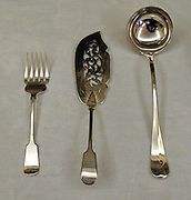 Silver serving cutlery set (knife, fork and spoon) dated to 1920's