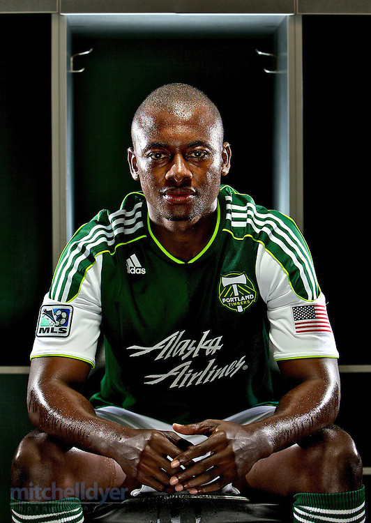The Portland Timbers Hanyer Mosquera is photographed in the locker room at Providence Park.