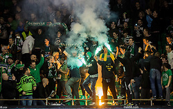Supporters of Olimpija celebrate after they became Slovenian National Champion 2016 after winning during ice hockey match between HDD Telemach Olimpija and HDD SIJ Acroni Jesenice in Final of Slovenian League 2015/16, on April 11, 2016 in Hala Tivoli, Ljubljana, Slovenia. Photo by Vid Ponikvar / Sportida