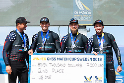 190707 US One of USA with skipper Taylor Canfield at the podium after the Men's final during day five of Match Cup Sweden on July 7, 2019 in Marstrand.<br />