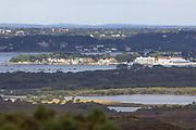 Sandbanks real estate across Little Sea from Godlingston Heath. Dorset, UK.