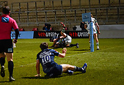 Sale Sharks lock Lood De Jager goes over for his first Sharks try during a Gallagher Premiership Round 12 Rugby Union match, Friday, Mar 05, 2021, in Eccles, United Kingdom. (Steve Flynn/Image of Sport)