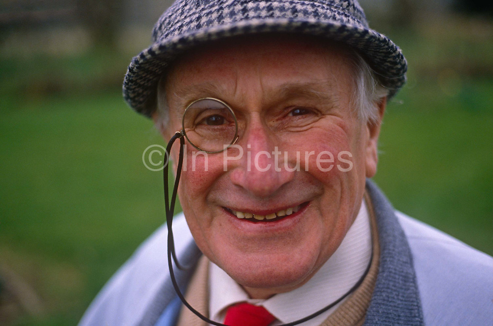 """A portrait of eccentric English travel writer, Arthur Eperon in the summer of 1989, in Horsmonden, England. Eperon wrote books and travel articles, introducing hundreds of thousands of British readers to a hidden France of scenic and gastronomic delights, burgeoning their need for informed and entertaining guidance on """"abroad""""."""