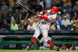 Jun 15, 2018; Pittsburgh, PA, USA; Cincinnati Reds first baseman Joey Votto (19) swings at a pitch during the ninth inning against the Pittsburgh Pirates at PNC Park. Mandatory Credit: Ben Queen-USA TODAY Sports