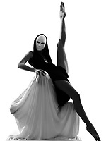 dancer performer mime with mask acting couple lovers conceptual in studio isolated on white background