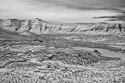 Snow covered lava in Berserkjahraun, Snaefellsnes, Iceland - Snævi þakið hraun í Berserkjahrauni á Snæfellsnesi