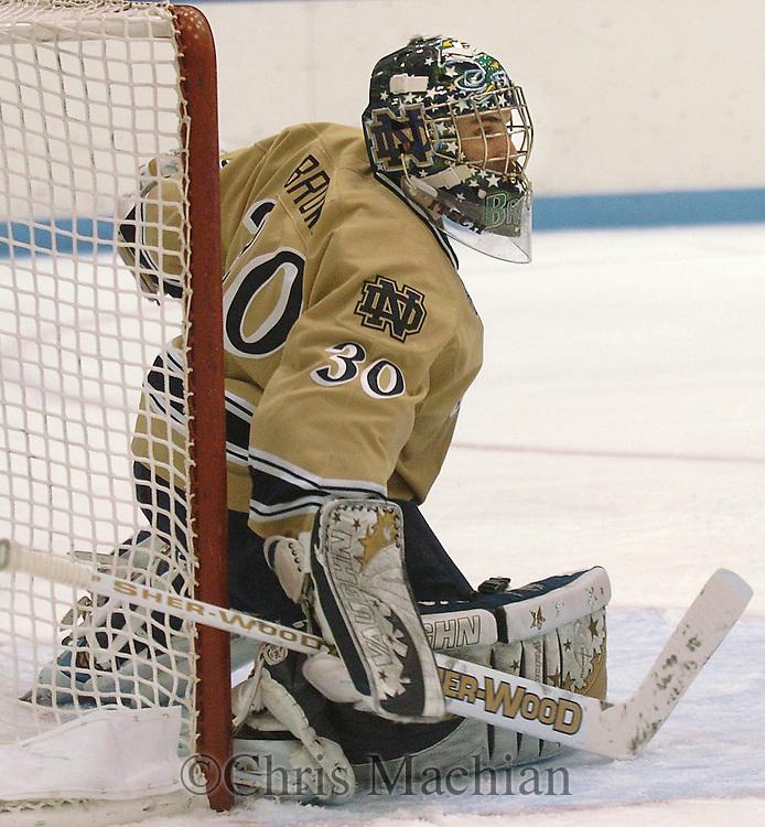 2/10/07 Omaha , IN University of Notre Dame goalie David Brown at the Joyce Center.(Chris Machian/Prairie Pixel Group)..