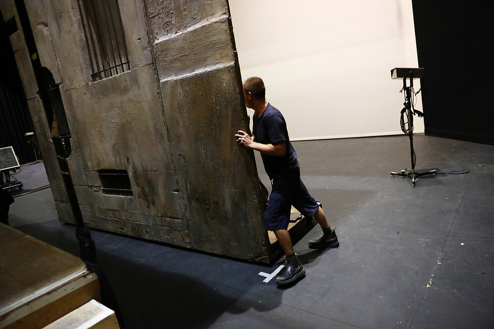 A stagehand moves scenery during a performance of the Barber of Seville at the English National Opera in London, Britain, 30 October 2017.  English National Opera (ENO) is an opera company based in London. It is one of the two principal opera companies in London. English National Opera traces its roots back to 1931 when Lilian Baylis established the Sadler's Wells Opera Company at the newly re-opened the Sadler's Wells Theatre. Baylis had been presenting opera concerts and theatre in London since 1898 and was passionate about providing audiences with the best theatre and opera at affordable prices. ENO became the first British opera company to tour the United States, and the first major foreign opera company to tour what was then the Soviet Union.EPA-EFE/NEIL HALL