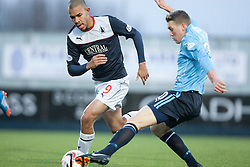 Falkirk's Phil Roberts and Dundee's James McAlister.<br /> Falkirk 2 v 0 Dundee, Scottish Championship game at The Falkirk Stadium.<br /> © Michael Schofield.