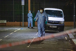 © Licensed to London News Pictures. 19/01/2020. London, UK. Police forensic investigators at the crime scene as an investigation is launched into the deaths of three men in Redbridge, all of whom had suffered apparent stab injuries. Photo credit: Peter Manning/LNP