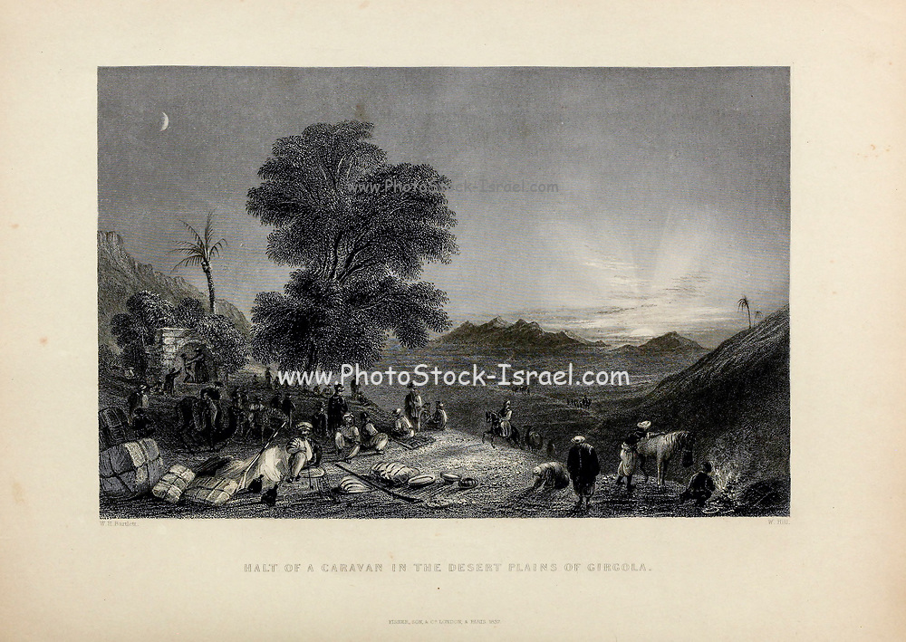 Halt of a caravan in the Desert Plains of Girgola [Lebanon] from Volume 2 of Syria, the Holy Land, Asia Minor, &c. by Carne, John, 1789-1844; Illustrated by Bartlett, W. H. (William Henry), 1809-1854, and Allom, Thomas, 1804-1872 Published in London in 1837