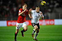 FOOTBALL - FRENCH CHAMPIONSHIP 2010/2011 - L1 - PARIS SAINT GERMAIN v VALENCIENNES FC - 30/04/2011 - PHOTO GUY JEFFROY / DPPI - MATHIEU BODMER (PSG) / RAFAEL SCHMITZ (VAL)