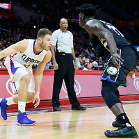 16 December 2015: Los Angeles Clippers forward Blake Griffin (32) dribbles  during the Los Angeles Clippers 103-90 victory over the Milwaukee Bucks, at the Staples Center, Los Angeles, California, USA.