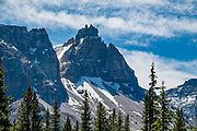 Cathedral Crags (10,082 ft) on Cathedral Mountain, seen from Sherbrooke Lake in Yoho National Park, British Columbia, Canada.