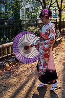 Japon, île de Honshu, région de Kansaï, Kyoto, Gion, ancien quartier des Geishas, jeunes femme en kimono // Japan, Honshu island, Kansai region, Kyoto, Gion, Geisha former area, young woman in kimono