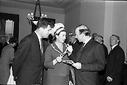 01/06/1964<br /> 06/01/1964<br /> 01 June 1964<br /> Language Organisations reception at the Shelbourne Hotel, Dublin for signing of declaration regarding the future of the Irish language. Among the leading personalities gathered to sign the National Declaration regarding the future of the Irish Language were Brendan Bowyer (Royal Showband; Miss Neilli Mulcahy (Fashion designer) and Domhnall O'Morain (Gael Linn).