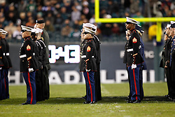 Military Personnel participate in the half time activities during the NFL Game between the Indianapolis Colts and the Philadelphia Eagles. The Eagles won 26-24 at Lincoln Financial Field in Philadelphia, Pennsylvania on Sunday November 7th 2010. (Photo By Brian Garfinkel)