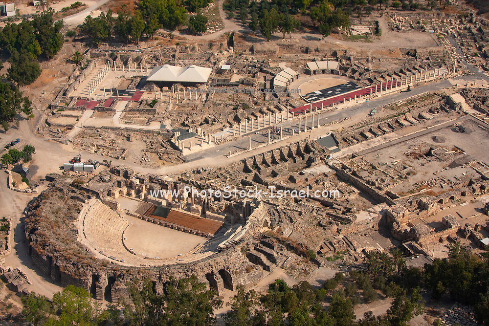 Aerial view of ancient Beit Shean, The Greek / Roman city of Scythopolis. The renovated Roman threatre on the left