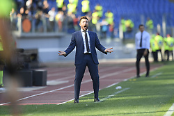 ROME, Oct. 21, 2018  AS Roma's coach Eusebio Di Francesco reacts during an Italian Serie A soccer match between AS Roma and Spal in Rome, Italy, Oct. 20, 2018. Spal won 2-0. (Credit Image: © Augusto Casasoli/Xinhua via ZUMA Wire)