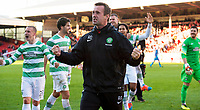 09/11/14 SCOTTISH PREMIERSHIP <br /> ABERDEEN v CELTIC <br /> PITTODRIE - ABERDEEN<br /> Celtic manager Ronny Deila (centre) celebrates at the full time whistle