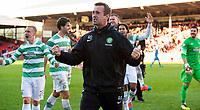 09/11/14 SCOTTISH PREMIERSHIP <br /> ABERDEEN v CELTIC <br /> PITTODRIE - ABERDEEN<br /> Celtic manager Ronny Deila (centre) celebrates at the full time whistle