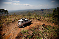 A landcruiser on a road above Boma to upper Boma where many local hospital staff live.