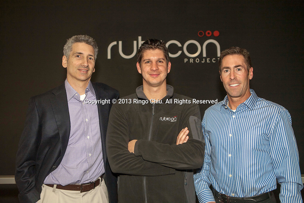 Frank Addante, CEO and co-founder (center), Greg Raifman (L), president and Todd Tapin (R), COO/CFO of Rubicon Project, an ad tech company in West Los Angeles.   (Photo by Ringo Chiu/PHOTOFORMULA.com)