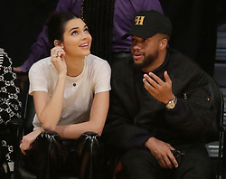 Kendall Jenner along with Rami Malek and his girlfriend Lucy Boynton are spotted at the Los Angeles Lakers Vs The Philadelphia 76'ers Game at the Staples Center in Los Angeles, Ca<br />