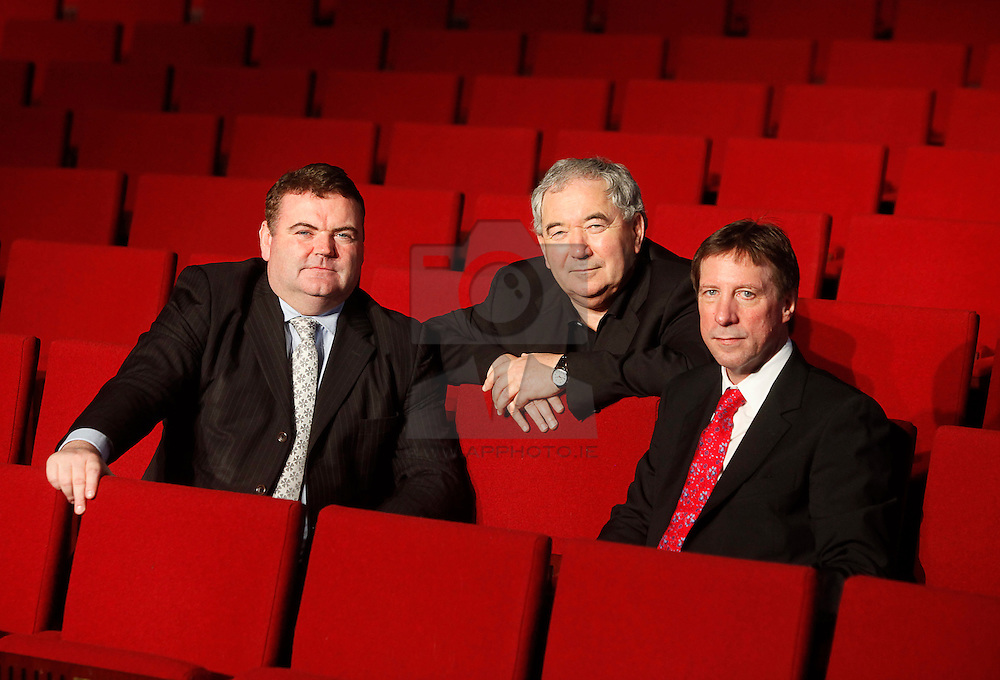No fee for Repro: 24/10/2011.John Mullins, CEO Bord Gáis, Harry Crosbie and Mike Adamson, CEO Live Nation Ireland are pictured at the Grand Canal Theatre where Bord Gáis Energy and Live Nation today announced a major new six and a half year commercial partnership that will see the venue rebranded the Bord Gáis Energy Theatre from 7th March 2012.  The agreement will enable Bord Gáis Energy to offer a raft of unique benefits to its customers, including complimentary tickets, discounts on tickets and advanced access to purchase tickets, and sees Bord Gáis Energy become the energy provider to the theatre. Pic Jason Clarke Photography