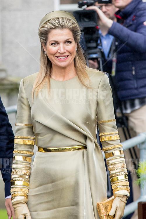 Koningin Maxima tijdens een bezoek aan Leinster House in Dublin, op dag 1 van het 3-daags staatsbezoek van het Nederlands Koningspaar aan Ierland.