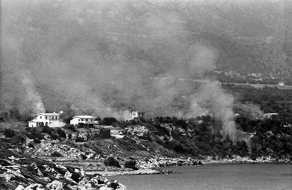 Cyprus War 20 July–18 August 1974. Turkish invasion of Cyprus code-name by Turkey, Operation Attila. Turkish invading forces coming ashore by naval landing craft on the island of Cyprus near Kyrenia July 1974. Photo by Terry Fincher.