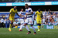 Tjarron Chery of QPR celebrates after scoring his sides 2nd goal from a penalty to make it 2-0. Skybet EFL championship match, Queens Park Rangers v Leeds United at Loftus Road Stadium in London on Sunday 7th August 2016.<br /> pic by John Patrick Fletcher, Andrew Orchard sports photography.