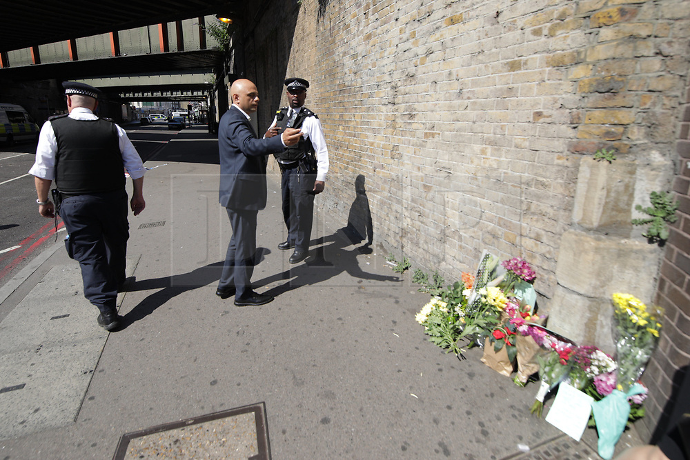 © Licensed to London News Pictures. 19/06/2017. London, UK. Sajid Javid at the scene. One man is known to be dead and several inured after a hired van was driven in to people outside a Somalian Restaurant on Whadcoat Street in Finsbury Park in North London . Photo credit: Joel Goodman/LNP