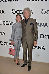 SIR BOB GELDOF and JEANNE MARINE at Fashions for The Future presented by Oceana's Junior Council held at Phillips Auction House, 30 Berkeley Square, London on 19th March 2015.