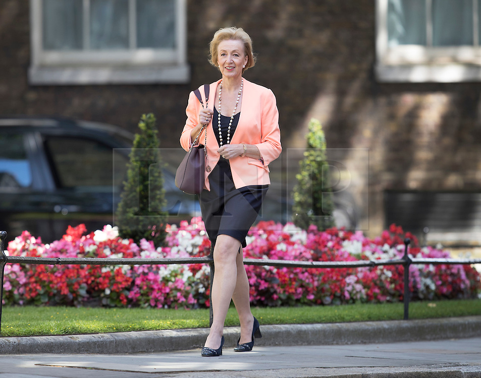 © Licensed to London News Pictures. 14/07/2016. London, UK. Energy Minister Andrea Leadsom arrives in Downing Street as Prime Minister Theresa May continues to make cabinet appointments on her first full day in office. Photo credit: Peter Macdiarmid/LNP