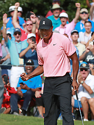September 20, 2018 - Atlanta, Georgia, U.S. - TIGER WOODS and the gallery react as he sinks his birdie putt on the 18th green to finish 5-under par during the first round of the Tour Championship on Thursday. (Credit Image: © Curtis Compton/Atlanta Journal-Constitution/TNS via ZUMA Wire)