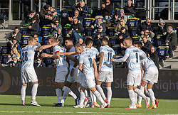 Jublende FC Helsingør-spillere efter anfører Jonas Henriksen's scoring til 1-0 under kampen i 1. Division mellem FC Helsingør og Skive IK den 18. oktober 2020 på Helsingør Stadion (Foto: Claus Birch).