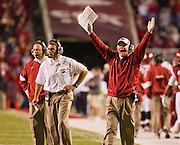 Nov 5, 2011; Fayetteville, AR, USA;  Arkansas Razorback head coach Bobby Petrino signals for a touchdown during the second half of a game against the South Carolina Gamecocks at Donald W. Reynolds Stadium.  Mandatory Credit: Beth Hall-US PRESSWIRE