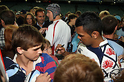 Kurtley Beale with the fans. NSW Waratahs v Hurricanes. 2010 Super 14 Rugby Union round 14 match played at the Sydney Football Stadium, Moore Park Australia. Friday 14 May 2010. Photo: Clay Cross/PHOTOSPORT