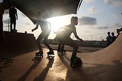 September 3, 2017 - Gaza, gaza strip, Palestine - Palestinian youths practice their parkour and skateboard skills  in Gaza sea port, on September 3, 2017. (Credit Image: © Majdi Fathi/NurPhoto via ZUMA Press)