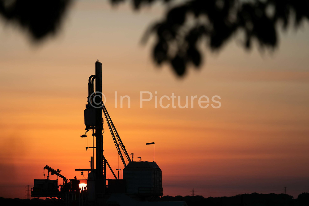 Sunset in New Preston Road, Cuadrillas highly contested  fracking site in Lancashire. The drilling is almost done and Cuadrilla is almost ready to extract the shale gas. Fracking is a highly controversial way of extracting fossil fuels.