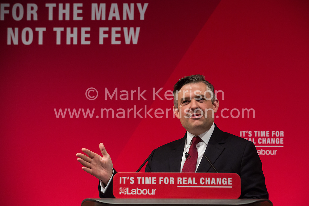 London, UK. 13 November, 2019. Jonathan Ashworth, Shadow Health Secretary, addresses a press conference where he, together with Shadow Chancellor John McDonnell, unveiled a Labour Party 'rescue plan' for the National Health Service (NHS) including a pledge of a £26bn p.a. real-terms increase in budget by 2023/24, to be funded by increased taxation on companies and the wealthiest in society. This pledge would give the NHS £5.5bn more per year than promised by the Conservative Party.