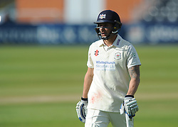 Chris Dent of Gloucestershire cuts a dejected figure after being caught out by Alex Davies - Photo mandatory by-line: Dougie Allward/JMP - Mobile: 07966 386802 - 07/06/2015 - SPORT - Football - Bristol - County Ground - Gloucestershire Cricket v Lancashire Cricket - LV= County Championship