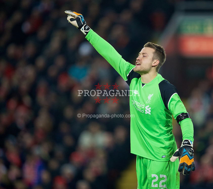 LIVERPOOL, ENGLAND - Tuesday, November 29, 2016: Liverpool's goalkeeper Simon Mignolet in action against Leeds United during the Football League Cup Quarter-Final match at Anfield. (Pic by David Rawcliffe/Propaganda)