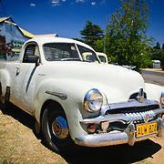 Vintage Australian cars, including a classic Holden Ute, at Dalgety in outback New South Wales