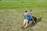 Mongolie, province de Bayankhongor, fêtes traditionnelles de Naadam, jeunes cavalier avec leurs Urga // Mongolia, Bayankhongor province, Naadam, traditional festival, young nomad with their Urga