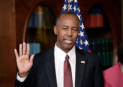 Ben Carson is sworn in to be secretary of housing and urban development by Vice President Mike Pence , on March 2, 2017 in Washington, DC. Photo by Olivier Douliery/ Abaca