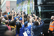 Fans try to get a glimpse of their heroes during the Premier League match between Chelsea and Sunderland at Stamford Bridge, London, England on 21 May 2017. Photo by John Potts.